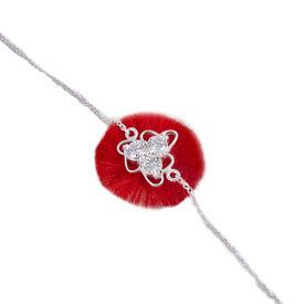 Charming Flower Zircon Silver Rakhi-BRA016