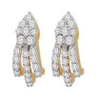 Linear Diamond Earrings- BAER0831, si - ijk, 14 kt