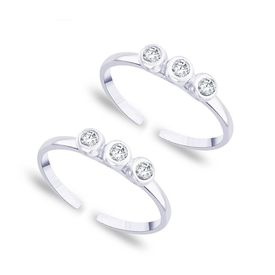 Shiny White Zircon Silver Toe Ring-TR177