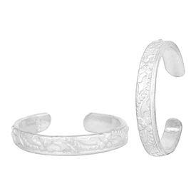Pretty Flower Design Silver Toe Ring-TRRD039
