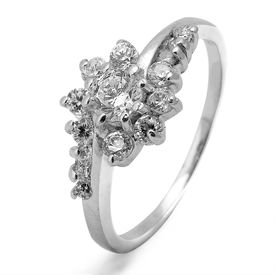 Stunning Flower Shape CZ Silver Finger Ring-FRL094