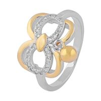 Butterfly Design Two Tone Hanging Charm Zircon Silver Finger Ring-FRL124, 12
