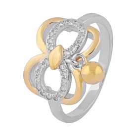 Butterfly Design Two Tone Hanging Charm Zircon Silver Finger Ring-FRL124