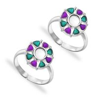 Fascinating Multicolor Enamel Sterling Silver Toe Ring-TR424