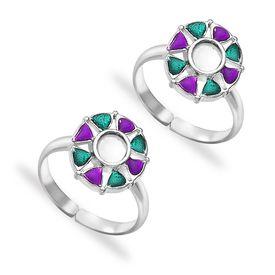 Fascinating Multicolor Enamel Sterling Silver Toe Ring-TR424
