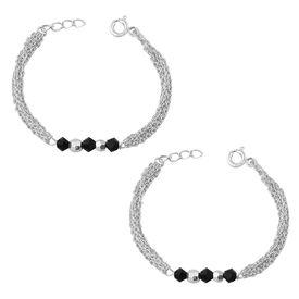 Silver & Black Beads Kids Nazariya Sterling Silver Bracelet-BRNZ010