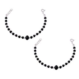 Nazar Black Beads Silver Bracelet- BRNZ014
