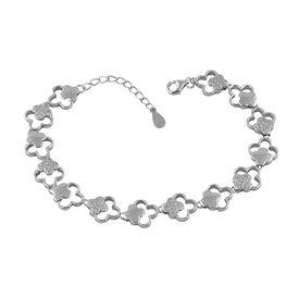 Glittering Flower Design Zircon Sterling Silver Bracelete-BR024