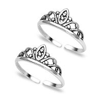 Cutwork Sterling Silver Toe Ring-TR142