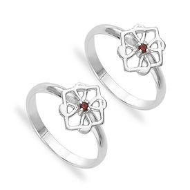Pleasant Flower Zircon Sterling Silver Toe Ring-TR434