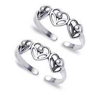 Heart Design Cutwork Sterling Silver Toe Ring-TR141