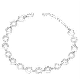 Gorgeous Flower Zircon Silver Zircon Bracelet-BR015