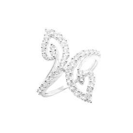White CZ Sterling Silver Finger Ring-FRL008