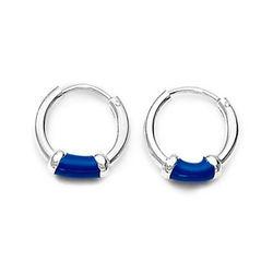 a01386f60 Blue Enamel Sterling Silver Hoops Earrings | Silver Earrings by ...