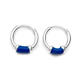 Blue Enamel Sterling Silver Hoops Earrings-ER061