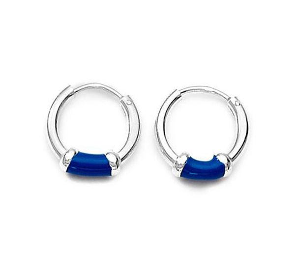 Blue Enamel Sterling Silver Hoops Earrings Er061