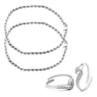 Charming Sterling Silver Anklets & CZ Toe Rings Combo-ANKTR003