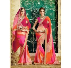 Bandhej Collection Vol 2 Designer Georgette Saree Pink & Orange, pink & orange, georgette