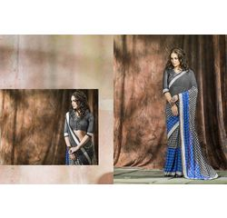 Mannat Collection Printed Georgette Sarees Black & Blue, black & blue, georgette, printed