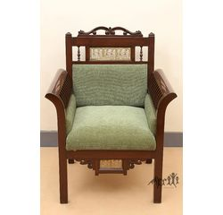 Aakriti Arts Sofa Chair Single Teak Wood with Dhokra Brass Work, green, 30 x26 x38  inch