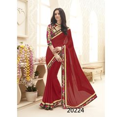 Galaxy Collection Vol 14 Designer Saree Red, red, satin chiffon