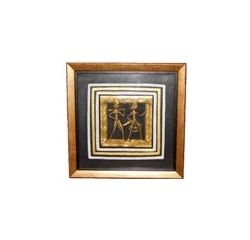 Aakriti Arts Handcrafted Dhokra Warli Wall Frame with Glass 7.5x7.5 inch, black and golden brown, 7.5x7.5