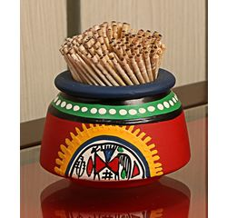 Aakriti Arts Toothpick Holder Terracota Warli Red, red, small