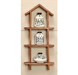 3 Hand Painted Warli Miniature Pots with Sheesham Wood Wall Decor Frame 3HS, wooden, 13x6x2