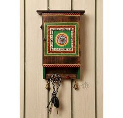 Aakriti Arts Handpainted Wooden Key Box, brown, 12 x8 x3