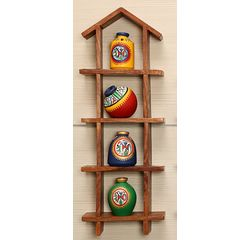 4 Hand Painted Warli Miniature Pots with Sheesham Wood Wall Decor Frame 4HS, wooden, 16.5x6x2