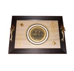 Aakriti Arts Tray Dhokra Warli with Glass in Silk, black frame, 16x12