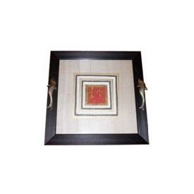 Aakriti Arts Tray Dhokra Warli with Glass in Silk, black frame, 15x15