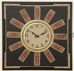 Aakriti Arts Handpainted Wall Clock with Dhokra and Warli work 16x16 inch, black gold, 16x16