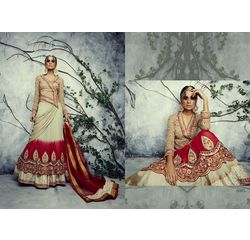 Designer Lehenga Collection Divyam Off White & Red, off white & red, semi georgette