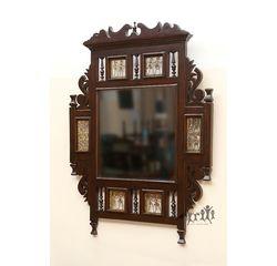 Aakriti Arts Mirror Teak Wood with Dhokra Brass Work, wooden brown, 25 x1 x27  inch