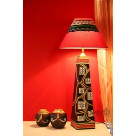 Handpainted Black Gold Wooden Lamp 14 inch with 13 inch Shade by Aakriti Arts, black and gold, 14