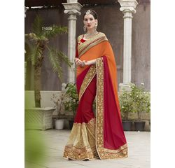 Heritage Vol 7 Heavy Work Designer Saree Orange & Red, orange, satin chiffon