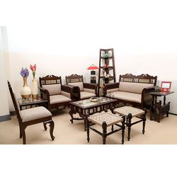Aakriti Arts Sofa Set with Table Teak Wood 3+ 2+ 1, beige