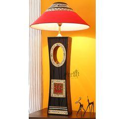 Aakriti Arts Handicraft Wooden Lamp 18 inch With Shade, black, 18