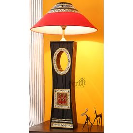 Aakriti Arts Handicraft Wooden Lamp 18 inch With Shade, black, 18