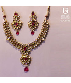 Royal Kundan Ruby Set, golden