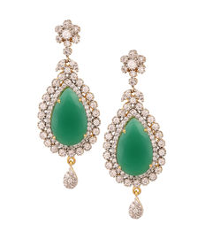 Diamond Drops with Emerald Center, green