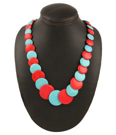 Cascading Disc Necklace, red & turquoise