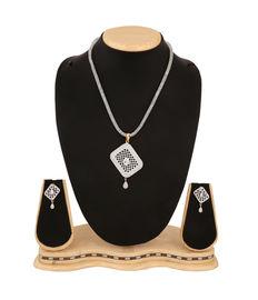 Geometric Diamond Sqaures Pendant Set, silver