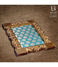 Brocade Finish Tray in wood carving, blue