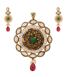 Kundan Antique Pendant Set, red