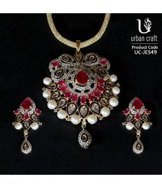 Kundan-Pearl-Ruby Nest, red