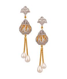 Diamond-N-Pearl Tassel Earrings, silver