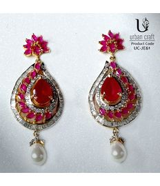 Ruby Leaf Earrings, red