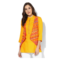 Biba Printed Viscose Blend Kurti With Lining, 32,  orange